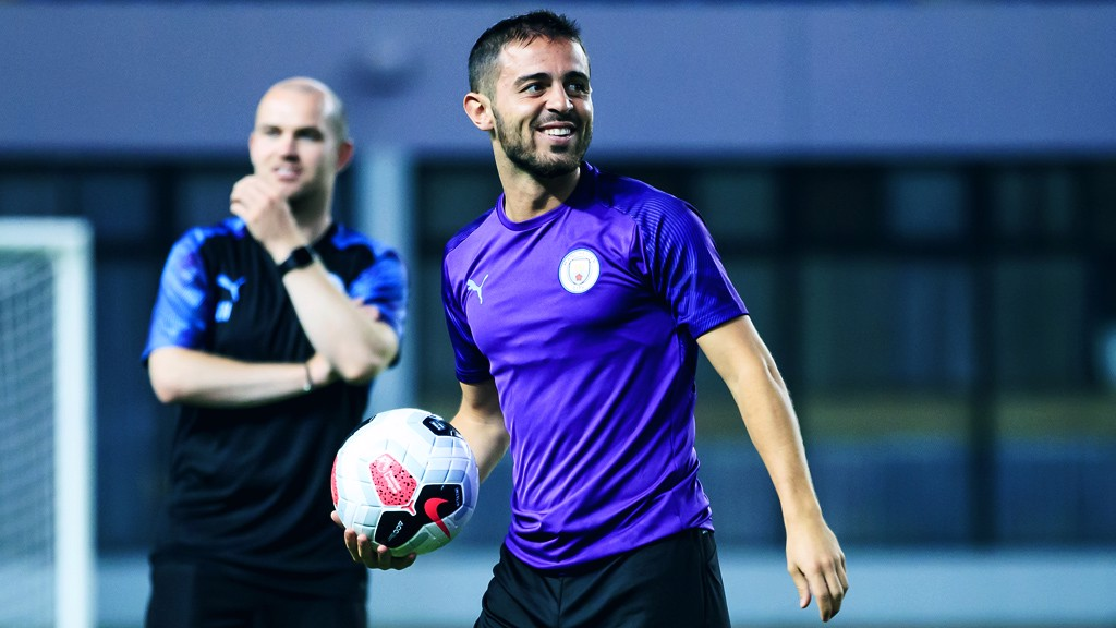 PURPLE REIGN: Bernardo Silva is in upbeat spirits as the session gets underway