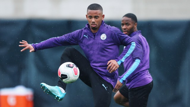 GABRIEL JESUS: Nice control as Raheem watches on