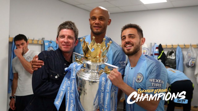 GOOD KOMPANY: Noel Gallagher joined in the post-mach celebrations.