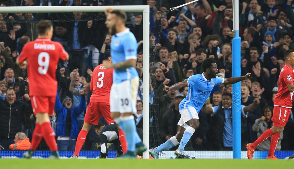 EUROPEAN NIGHTS: Bony scores his first Champions League goal against Sevilla in 2015