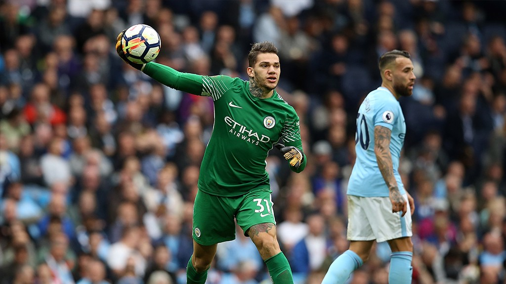 THROW: Ederson gears up for a long throw