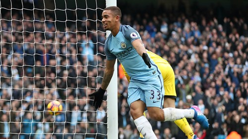 POACHER: Gabriel Jesus was happy with his second goal in a week
