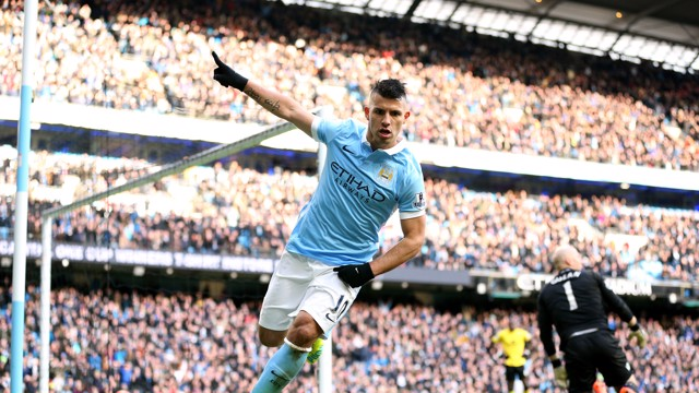 AGUEROOO: Sergio celebrates notching his second against Aston Villa.