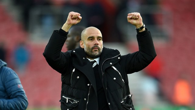 JOB DONE: Pep Guardiola salutes the travelling City fans