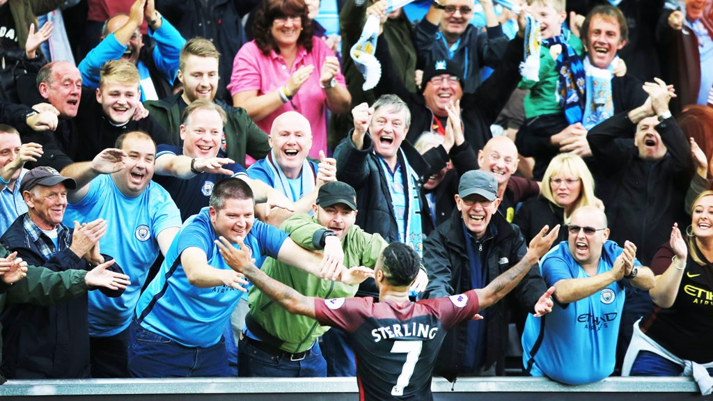 STERLING: Celebrates his goal