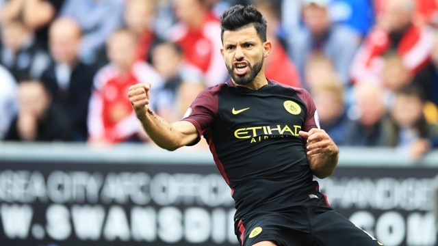 IN FORM: Aguero celebrates his goal