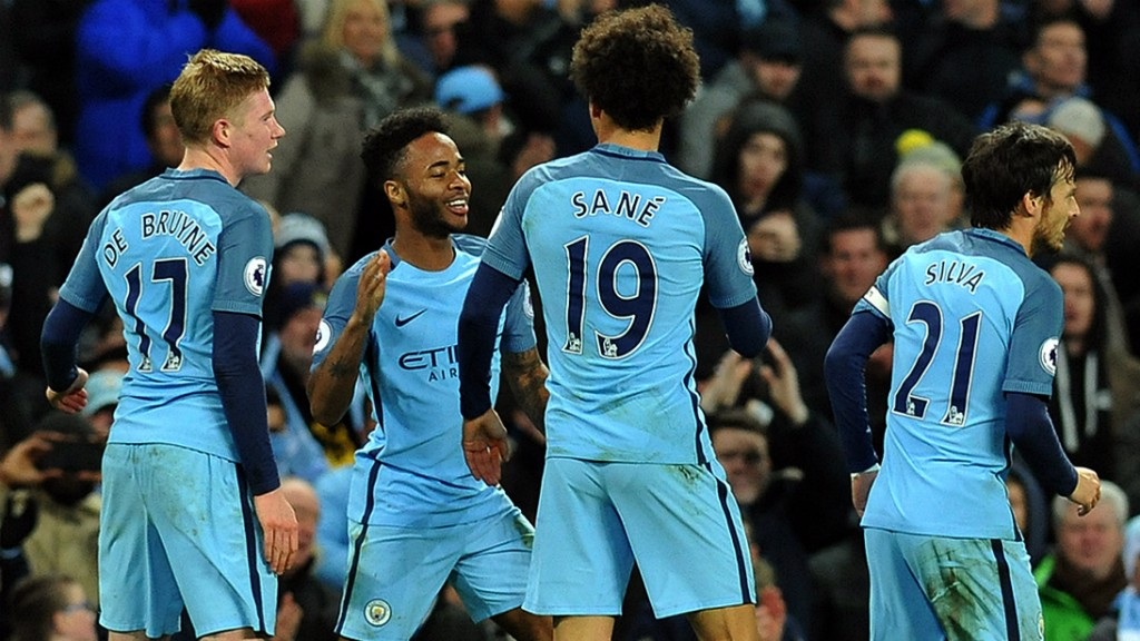 FANTASTIC FOUR: Kevin De Bruyne, Raheem Sterling, Leroy Sane and David Silva shone against Arsenal