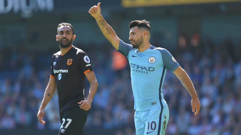SERGIO SALUTE: Aguero shows his appreciation for a cross in the first half.