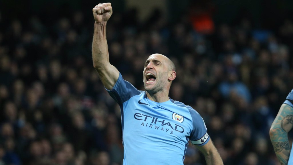 LEGEND: Pablo Zabaleta celebrates with the City faithful