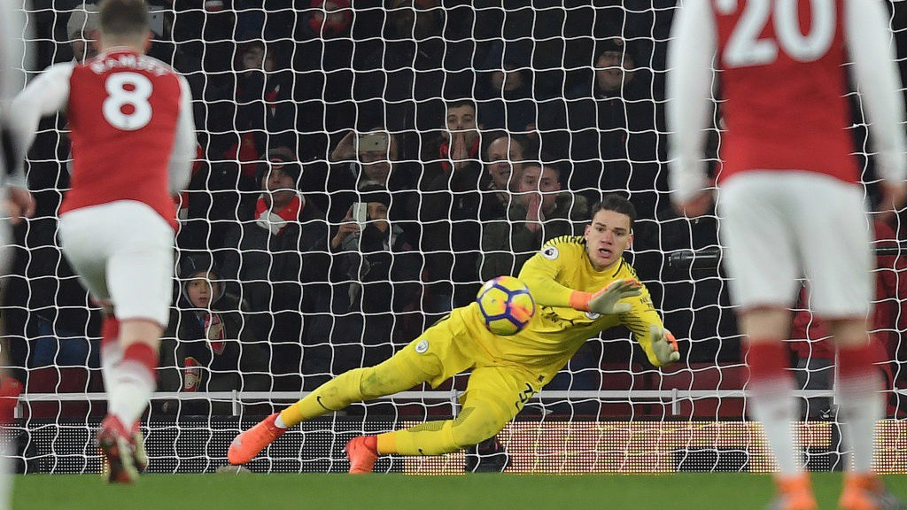 SAFE HANDS: Ederson denies Pierre-Emerick Aubameyang from the spot.