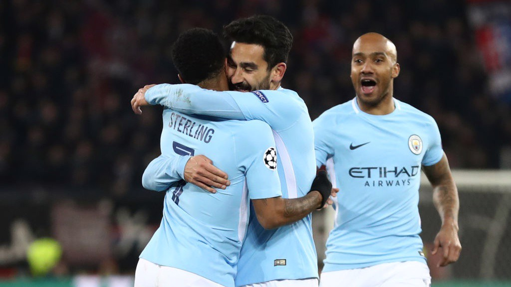 MIDFIELD MAESTRO: Raheem Sterling congratulates Ilkay Gundogan on his second goal of the night.