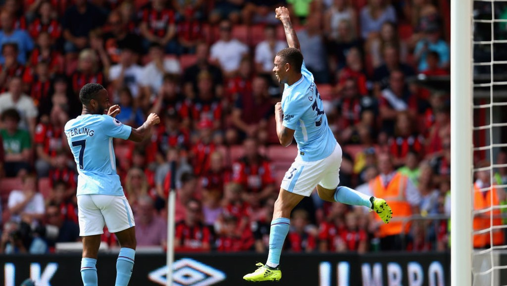 QUICKLY LEVEL: Gabriel Jesus celebrates his equalizer with Sterling