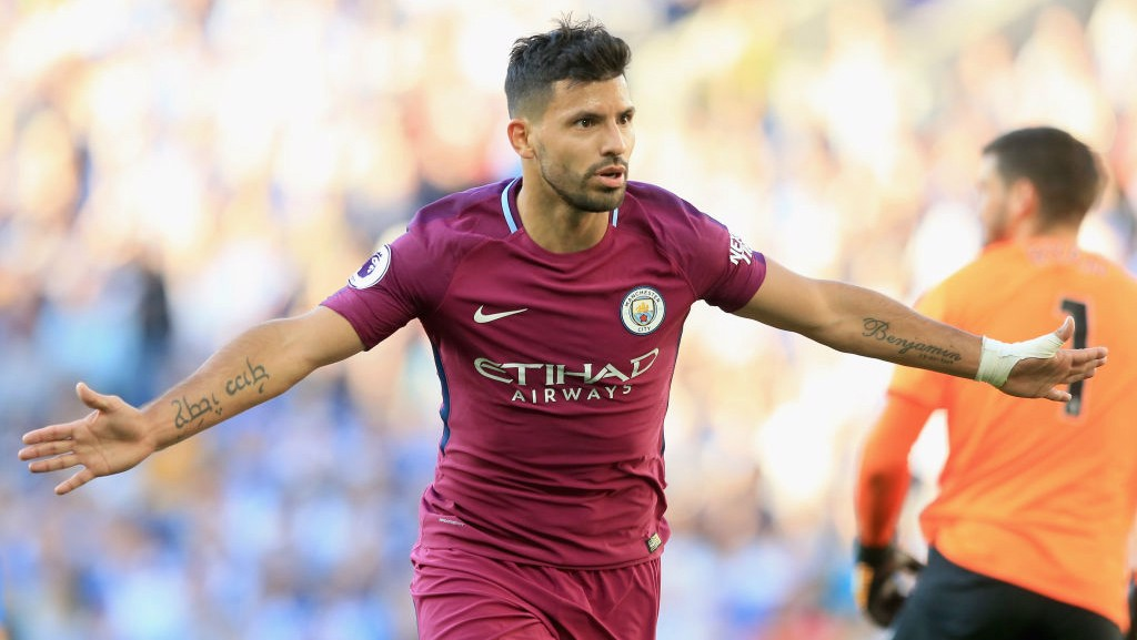 GET IN!: Sergio Aguero celebrates giving City the lead in the second half.