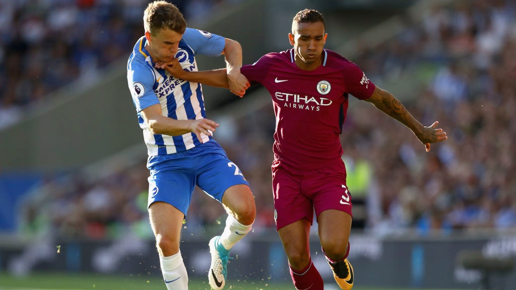 STRENGTH: Danilo holds off the challenge of Solly March.