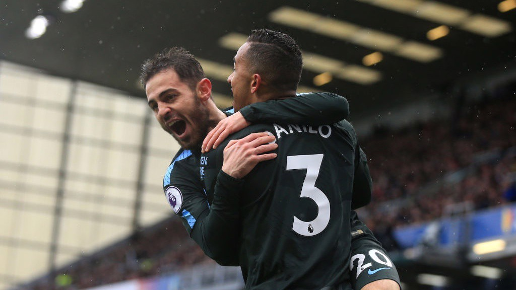 ELATION: Danilo and Bernardo Silva celebrate the former's first City away goal.