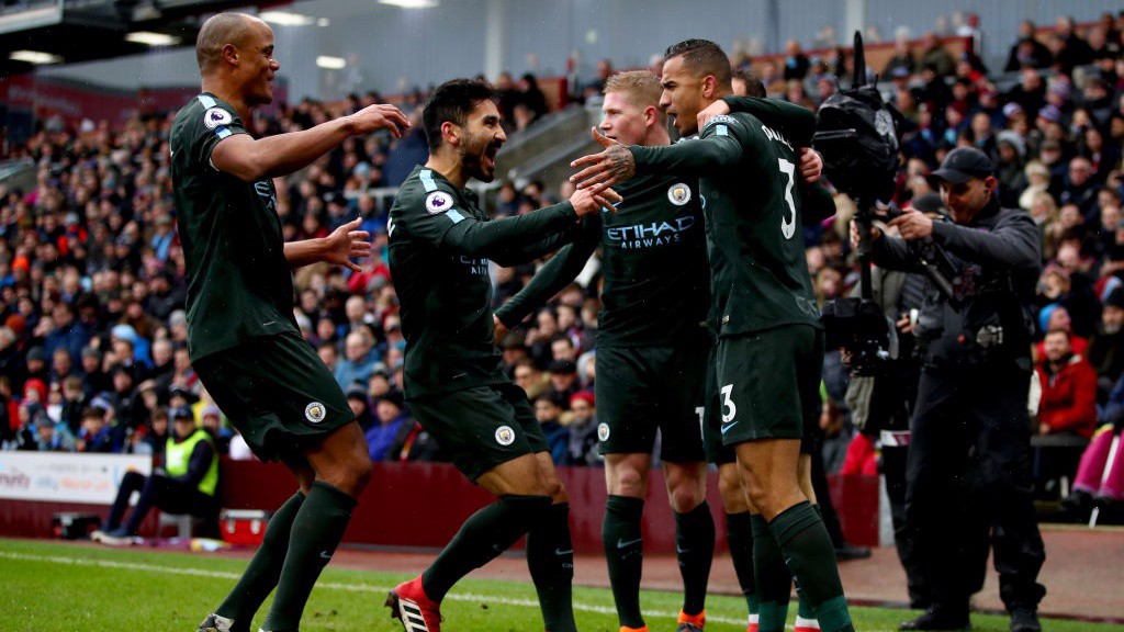 ROCKET: City celebrate Danilo's stunning opener.