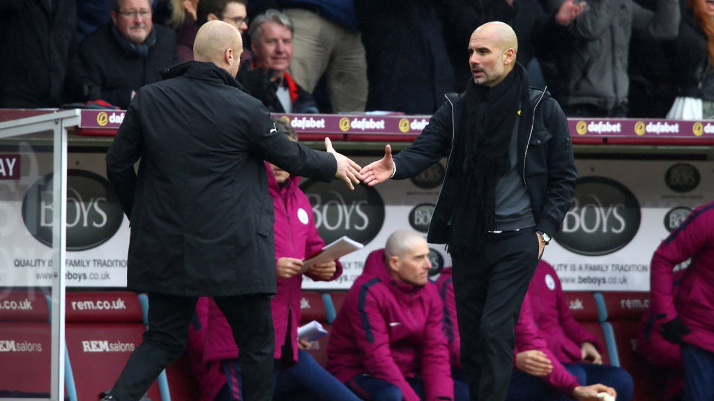 RESPECT: Pep Guardiola and Sean Dyche shake hands at full-time.