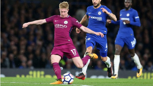 STRIKE: Kevin De Bruyne gives City the lead with a stunning solo effort