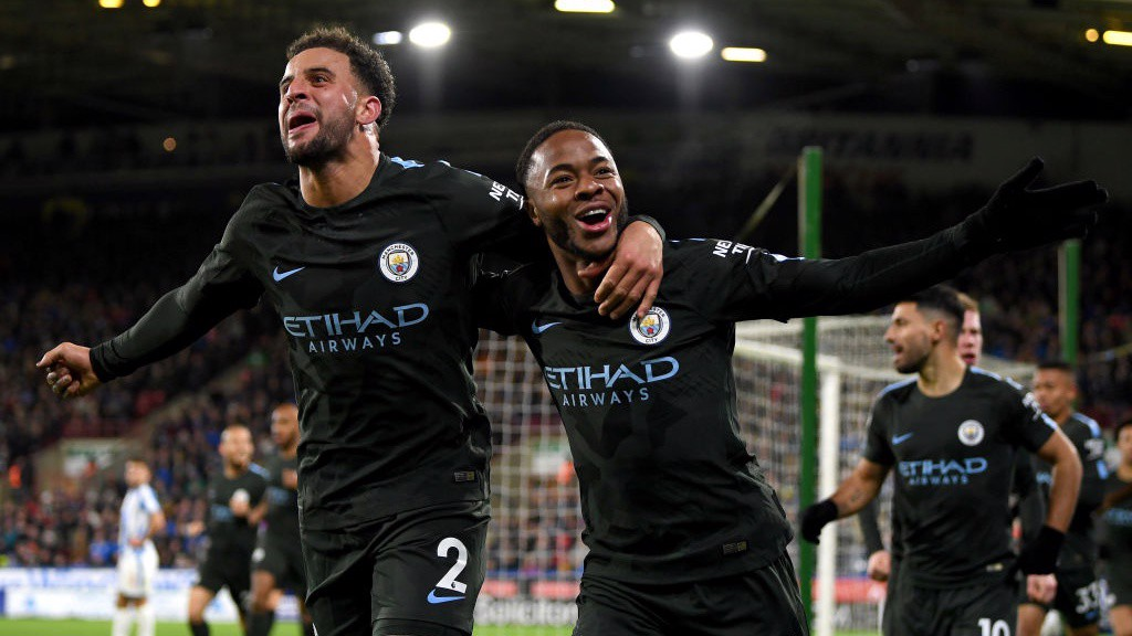 RAHEEM TO THE RESCUE: City's number 7 celebrates scoring his eighth of the season to put City ahead.
