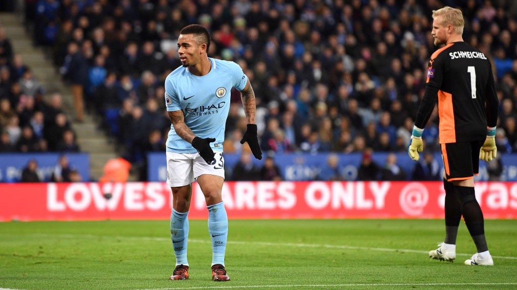 MOVES: Gabriel Jesus celebrates scoring the opener.