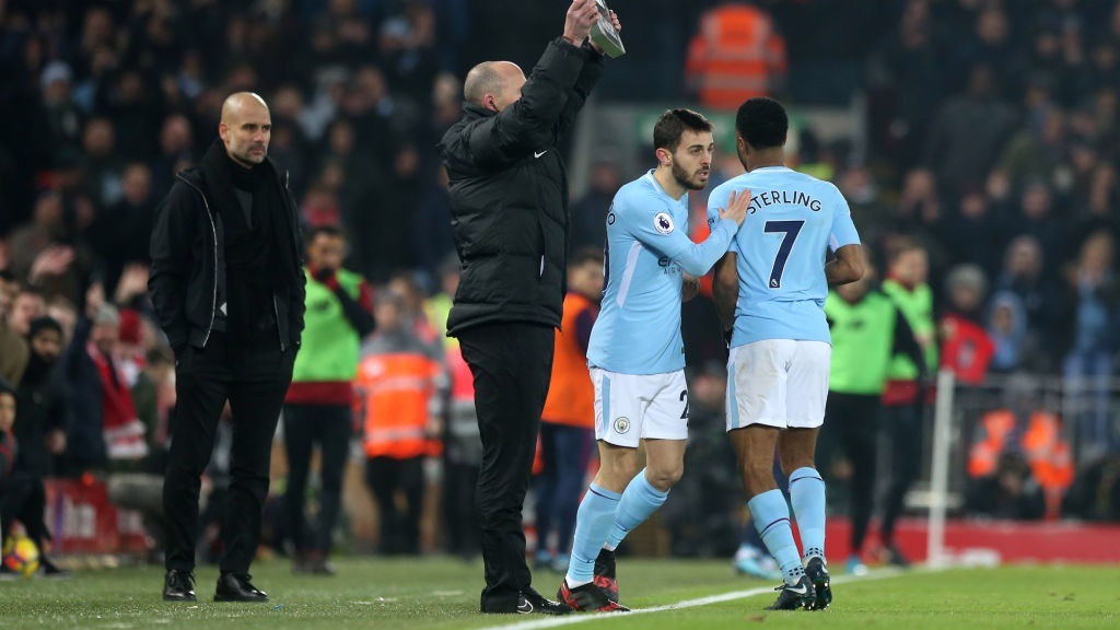 REINFORCEMENT: Bernardo Silva comes on for Raheem Sterling.