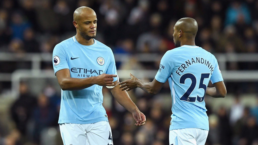 DISAPPOINTMENT: Vincent Kompany goes off injured early in the first half.
