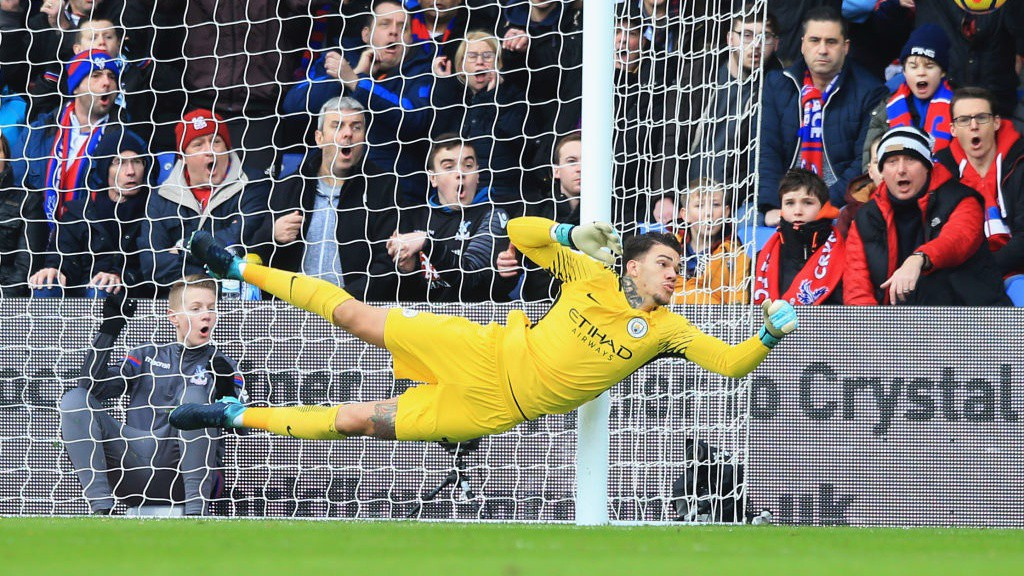 CALLED UPON: Ederson had work to do in the first-half at Selhurst Park.