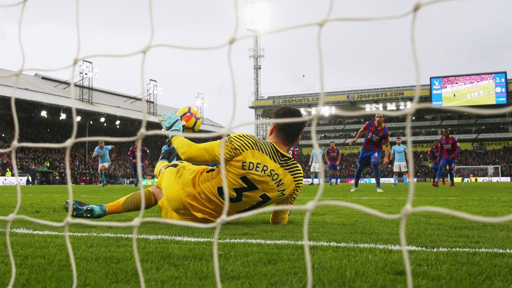 TOP STOPPER: Ederson saves Luka Milivojevic's 90th-minute penalty.