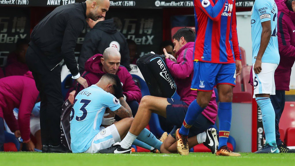FRUSTRATION: Gabriel Jesus cuts a forlorn figure as he is forced off through injury.