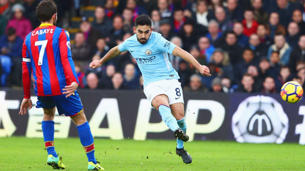 CLOSE: Ilkay Gundogan fired narrowly wide before beinf replaced by Raheem Sterling.