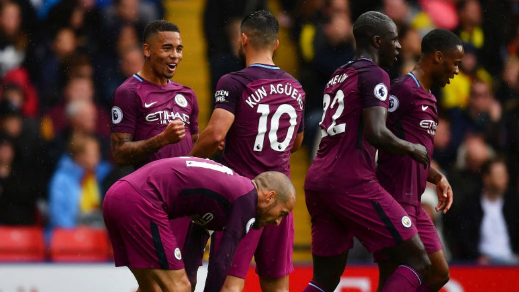 TREBLE CHEER: Gabriel Jesus celebrates after grabbing City's third goal