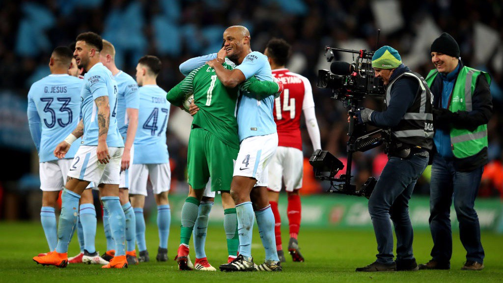 TRUE BLUE: What a moment for Vincent Kompany, scorer of City's second goal.