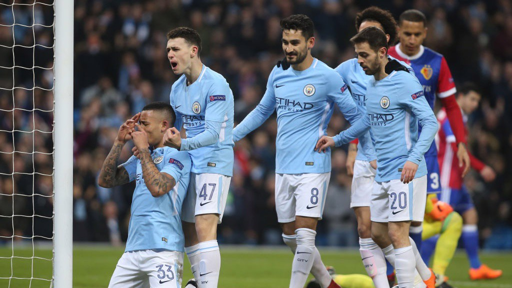 BREAKTHROUGH: Gabriel Jesus celebrates after firing City to an early lead.