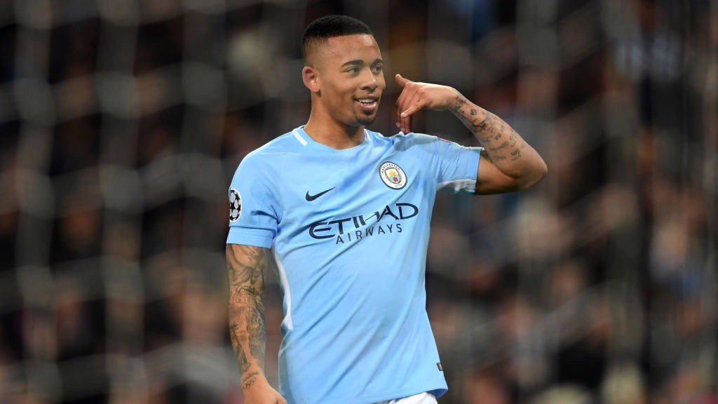 BACK IN THE GOALS: Gabriel Jesus celebrates handing City an early lead.