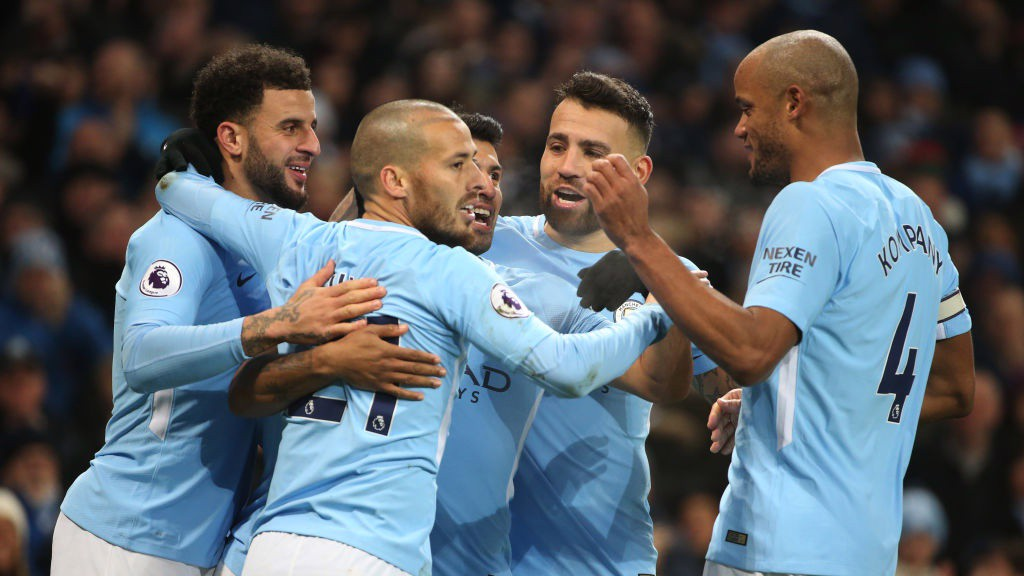 AT THE DOUBLE: City celebrate going two ahead against Bournemouth.