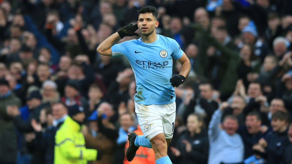 100 CLUB: Sergio Agüero celebrates scoring his centenary goal at the Etihad Stadium.