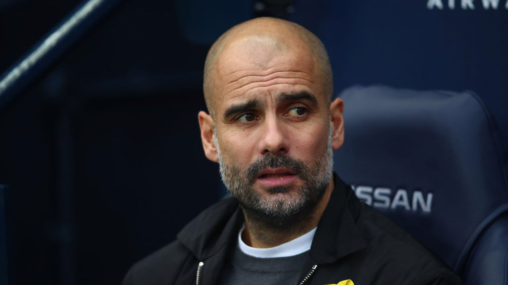 PEP WATCH: The manager takes his seat at the Etihad.