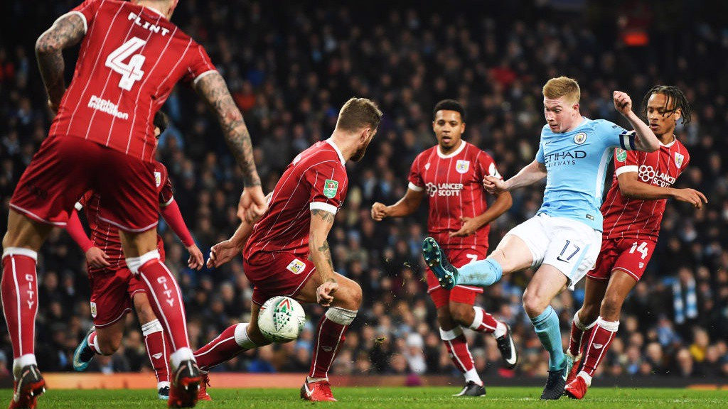 ON TARGET: Kevin De Bruyne makes no mistake and finds the corner through a wall of Bristol City bodies.