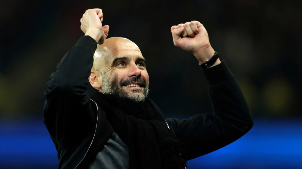 MASTERMIND: Pep Guardiola celebrates as substitute Sergio Agüero scores a late winner.
