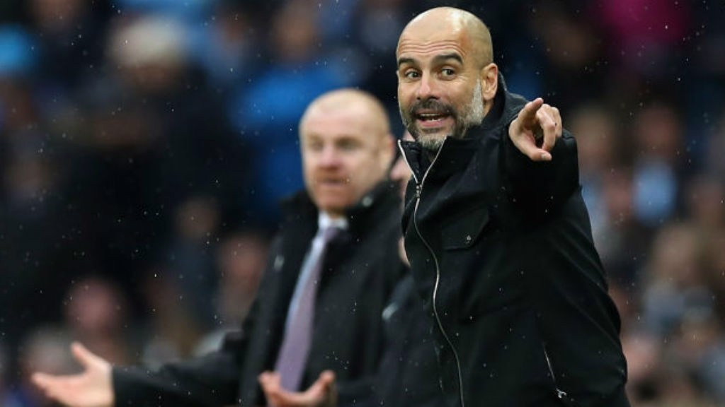 DECISION TIME: Pep Guardiola points it out to City
