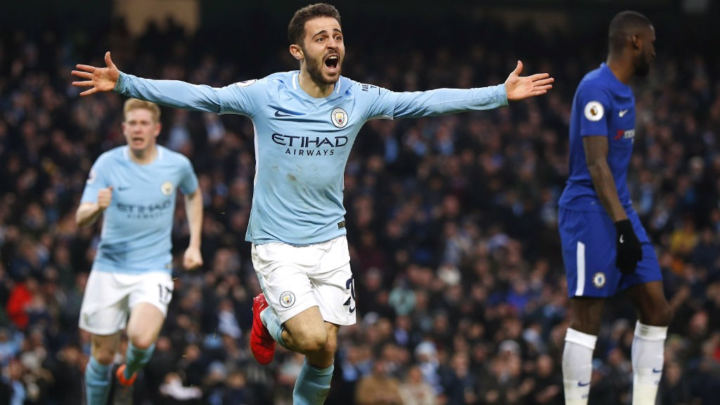 GOAL: Bernardo Silva celebrates after scoring City's first goal.