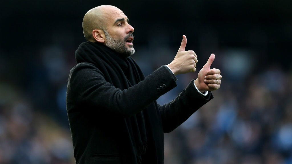 THUMBS UP: Pep Guardiola.