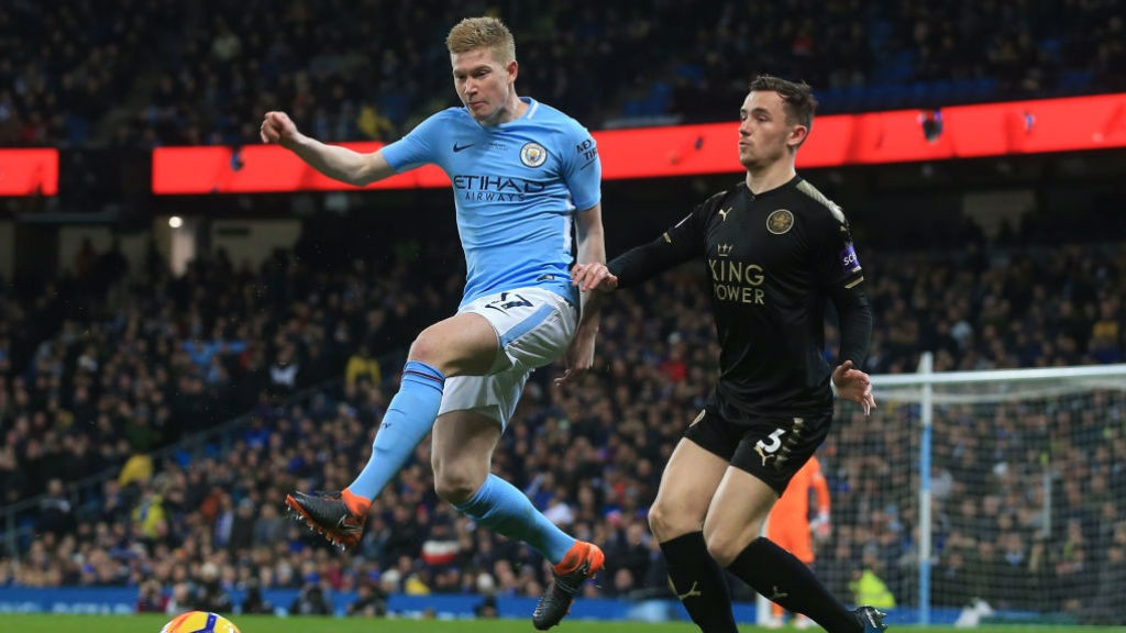 HIGH JUMP:  KDB shows his aerial skills in the first half.