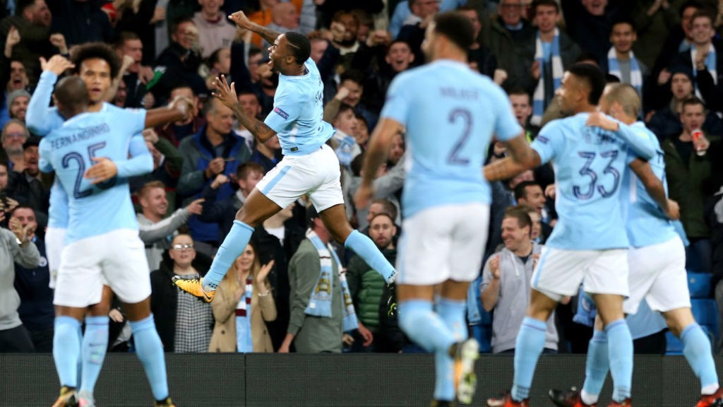 SUPER TUESDAY: Raheem Sterling leads the celebrations after his early strie