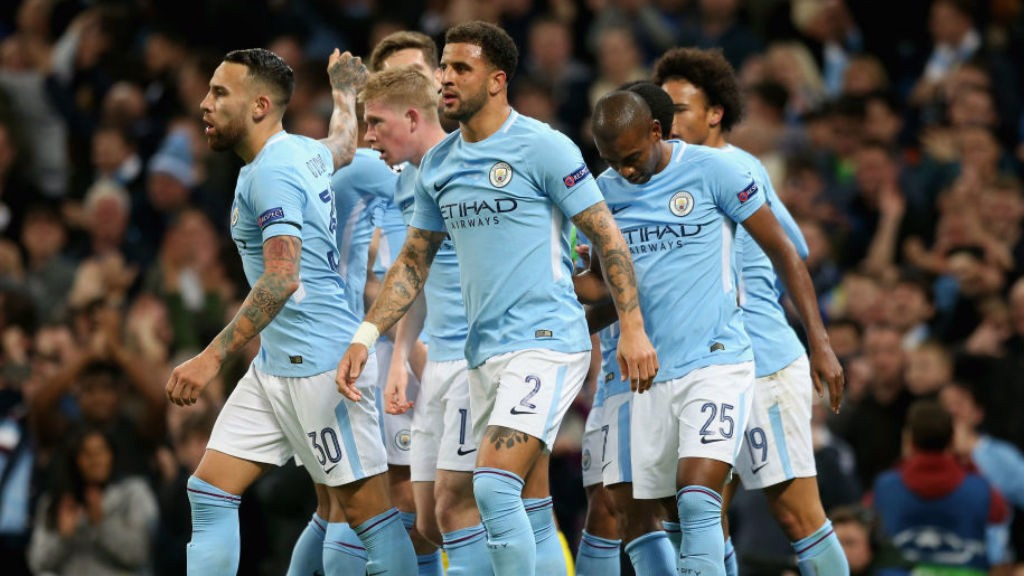 TWO GOOD: The Blues players celebrate after Gabriel Jesus's goal