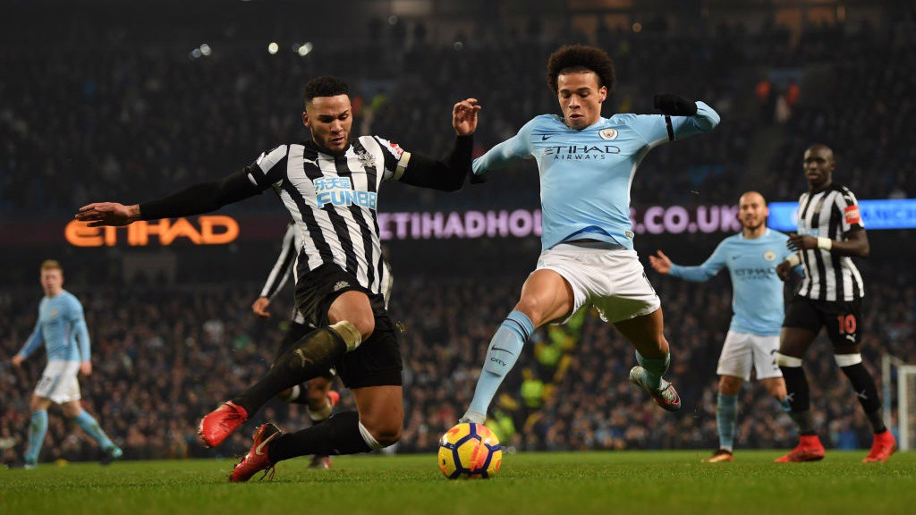 FULL STRETCH: Leroy Sané looks to force a second City goal early in the second half.