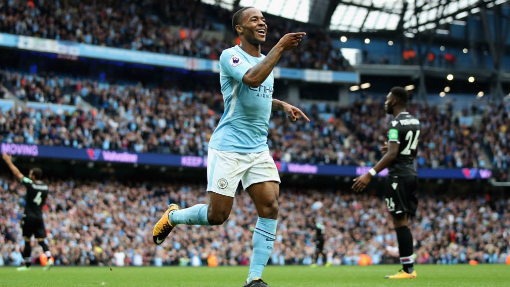 STERLING DISPLAY: Raheem has now scored four in his last three Premier League games