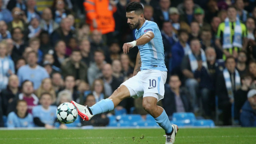 FORWARD MARCH: Sergio Aguero lets fly at the Shakhtar goal