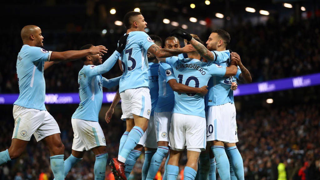 TOGETHER: City celebrate going ahead on 47 minutes.