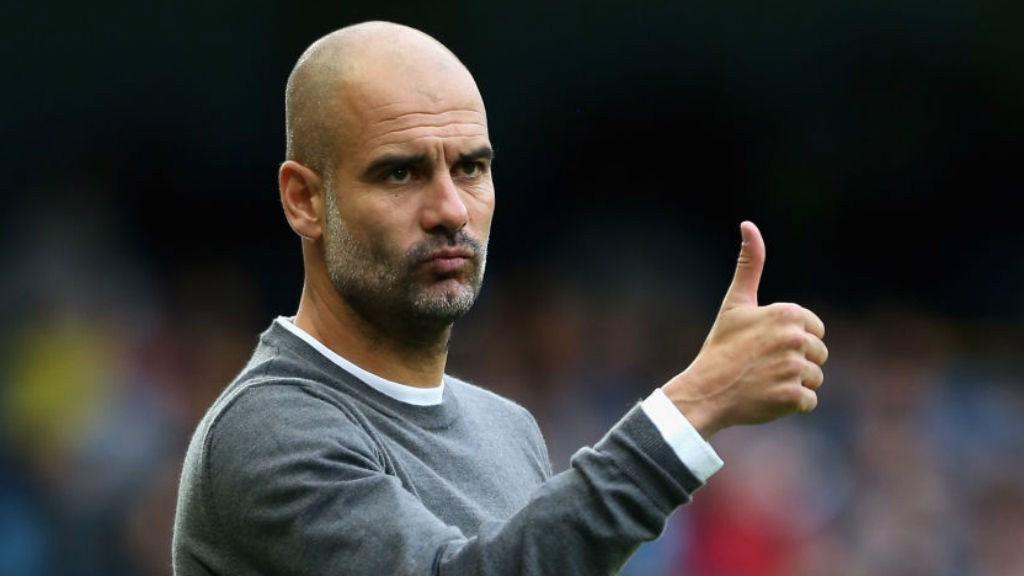 THUMBS UP: City boss Pep Guardiola is happy with what he sees